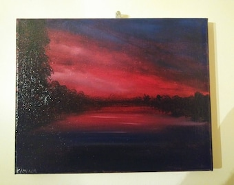 dark scene oil painting on canvas 8x10