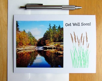 Greeting Card, Get Well Soon, Waterfall, Handmade Cards, Cards for Her, Cards for Him, Nature Cards, Photo Cards, Stationery, Feel Better