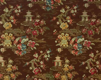 Coupon/sample old fabric for upholstery - pattern of flowers and Asian-58 x 57 cm