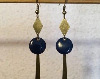 Earrings Pearl blue resin epoxy