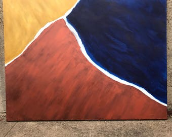 Sienna, gold and midnight blue original Abstract painting