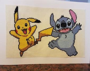 Stitch And Pikachu Cross Stitch