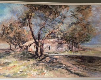 Original Provencal Pastel painting, signed and dated Rmapton 1982