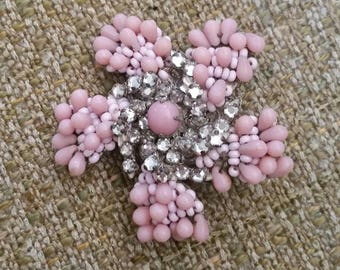 Vintage Miriam Haskell Beaded Flower Brooch