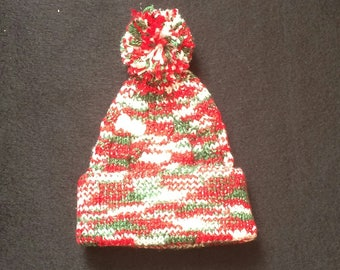 Hand knitted bobble hat in Christmas colours
