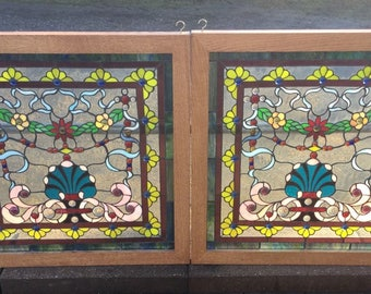 Pair of Leaded Stained Glass Windows