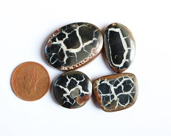 4pcs 175cts. 40x30mm 100% natural beautiful black septarian hand polished cabochons jewelry making handmade mix shape loss gemstone SKU00223