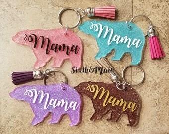 "Custom ""Mama Bear"" Acrylic Glitter Keychain"