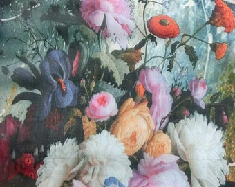 Pure Silk dpc-33056 Realistic Flower Painting Digital Print 6mm Pure Silk Chiffon Fabric material sheer (Yard or Meters)