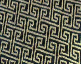 """36"""" wide Chinese brocade Golden Maze on Black shiny satin fabric faux silk material embroidered by the 0.5 YARDS, Yards Meters br 639"""