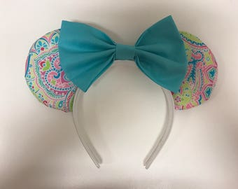 Paisley mouse ears with blue bow