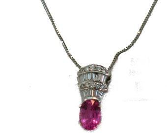 18k Pink Sapphire and Diamond Pendant Necklace.