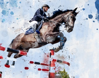 Horse Jumping, Unique Design, Digital Art Print, Gift idea, Home decor, Fine Art, Watercolor