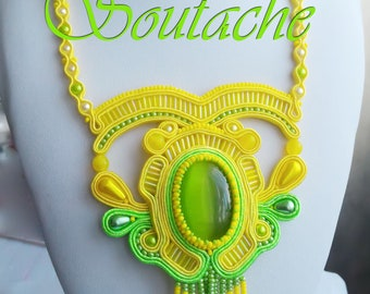 """Soutache necklace """" Spring Flower"""",A gift for the spring mood. Green Cats Eye Stone,handmade."""