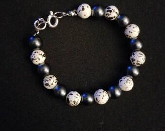 Black Splatter Beaded Bracelet