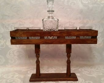 Wood wine shot glass drinking glass flight stand holder carrier great rustic gift