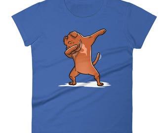 Funny Dabbing Dogue De Bordeaux Women's T-Shirt, Cute Dab Dance Dog Gift