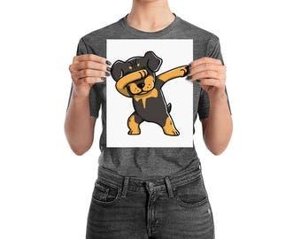 Funny Dabbing Rottweiler Poster, Cute Rottweiler Dog Wall Art
