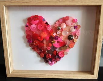 Heart button picture, vintage button art, valentines gift