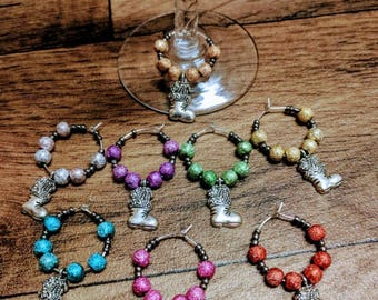 Christmas/Boots Wine Glass Charms - Set of 8