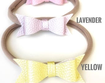 Leather bow headband and clip