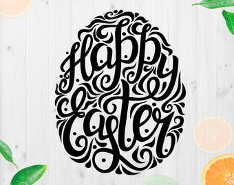 Happy Easter Svg, Easter Cutfile, Easter egg svg, Easter Dxf, Easter text svg, Easter vector Cut files for Cricut & cutting machines