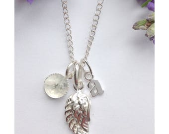 Forever in my heart. Personalised Sterling & moonstone silver angel wing memory necklace