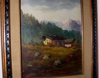 19 th Italian Signed Listed Artist Monti, Alpine Landscape Painting
