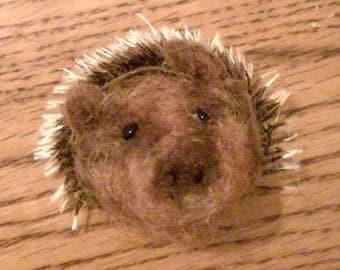 Needle felted hedgehog brooch