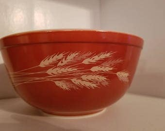Vintage Pyrex Autumn Harvest Wheat 2.5L Mixing/Serving/Nesting Bowl #403