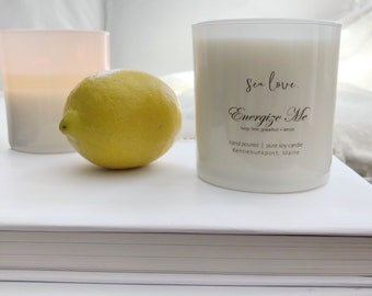 ENERGIZE ME ••  best seller, soy candle, lemon verbena, handpoured soy candle, vegan soy candle, natural candle, aromatherpy candle
