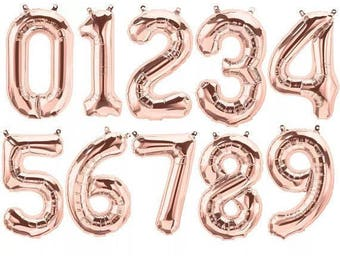 Rose Gold Balloons | 16 Inch | Numbers 0-9 | Rose Gold Number Balloons | Age Balloons | Birthday Balloons | Birthday Party | Photo Prop
