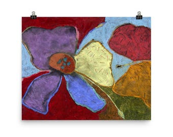 Colorful Abstract Flowers - Beautiful Archival Cotton Rag Fine Art Giclée Print Supporting the Nonprofit Fresh Artists
