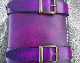 Leather wallet, Leather wallet, wallet, pirate wallet, leather, purple leather Purple Pirate, grimoire, Book of spells