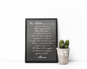 Lord's Prayer, Bible, Scripture, Printable Art, Wall Art, Digital Download, Black and White,  Home Decor, Art, Modern