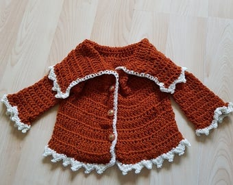 9-12 months deep orange cardigan/coat