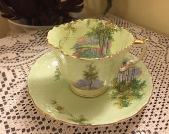 Vintage Aynsley Scenic Mint Green Embossed Square Teacup and Saucer Bone China Made in England Circa 1930s