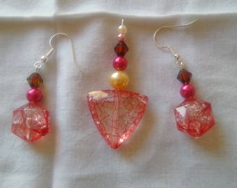 Pendant and Earrings Set - red
