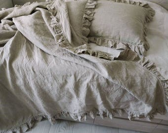 Linen Duvet Cover with ruffles 4 sides stonewashed linen Eco bedding Washed bedding Twin, Queen, King, custom sizes.