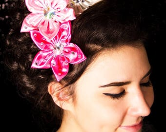 Fabric flower hairclip with rhinestones