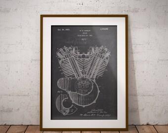 Harley Engine Motorcycle Patent, Motorcycle Engine Patent Print, Harley Patent Art Print, Home Decor, Harley Wall Art,Garage Decor, IAP0030