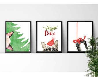 50% OFF 3 in 1 Christmas Cat, Nursery Woodland, Christmas Prints, Christmas Decoration, Holiday Decor