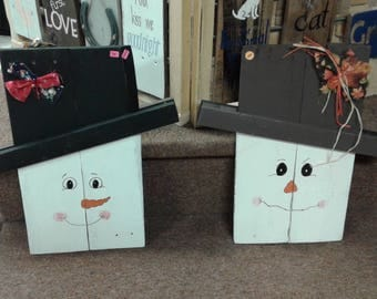Snowman / Scarecrow reversible sign.