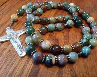 Catholic Rosary, Multi-Colored Natural Jasper Stone, Semi-Precious, Gemstone, 5 Decade Rosary, Heirloom Quality, Flex Wire