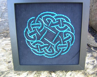 """Velvet Celtic Knotwork Pagan Wiccan Norse Hand Embroidery Picture 8"""" X 8"""""""
