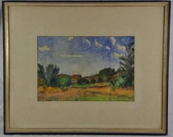 Vintage Original Watercolor Painting Asian Canadian Landscape Farmhouse Post Impressionist Art