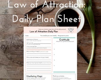 Daily Planner Sheet: Law of Attraction (Raise your vibration)