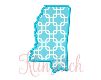 50% Sale!! Mississippi State Applique Designs 9 Sizes Embroidery Designs USA State Outline Embroidery PES Embroidery Designs