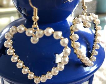 Love Heart Pearl Earrings