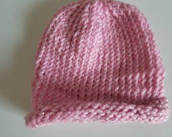 Pink sparkle baby hat